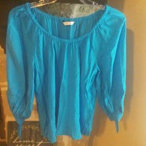 Trina Turk Sz XL Silk 3/4 Sleeve Pop Over Blouse